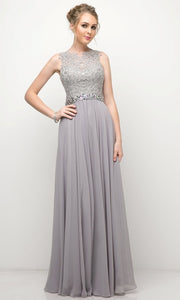 Cinderella Divine - B1601 Jewel Adorned A-Line Dress In Gray