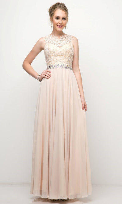 Cinderella Divine - B1601 Jewel Adorned A-Line Dress In Neutral