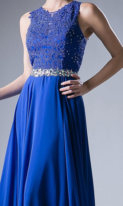 Cinderella Divine - B1601 Jewel Adorned A-Line Dress In Blue