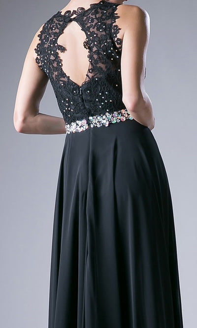 Cinderella Divine - B1601 Jewel Adorned A-Line Dress In Red and Black