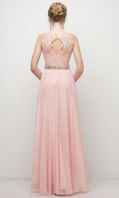 Cinderella Divine - B1601 Jewel Adorned A-Line Dress In Pink and White