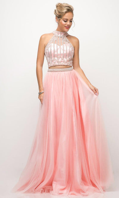 Cinderella Divine - 8994 Teardrop Cutout Back Gown In Pink
