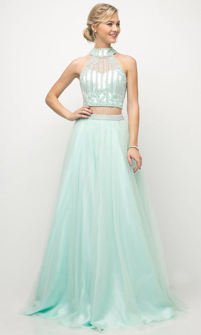 Cinderella Divine - 8994 Teardrop Cutout Back Gown In Green