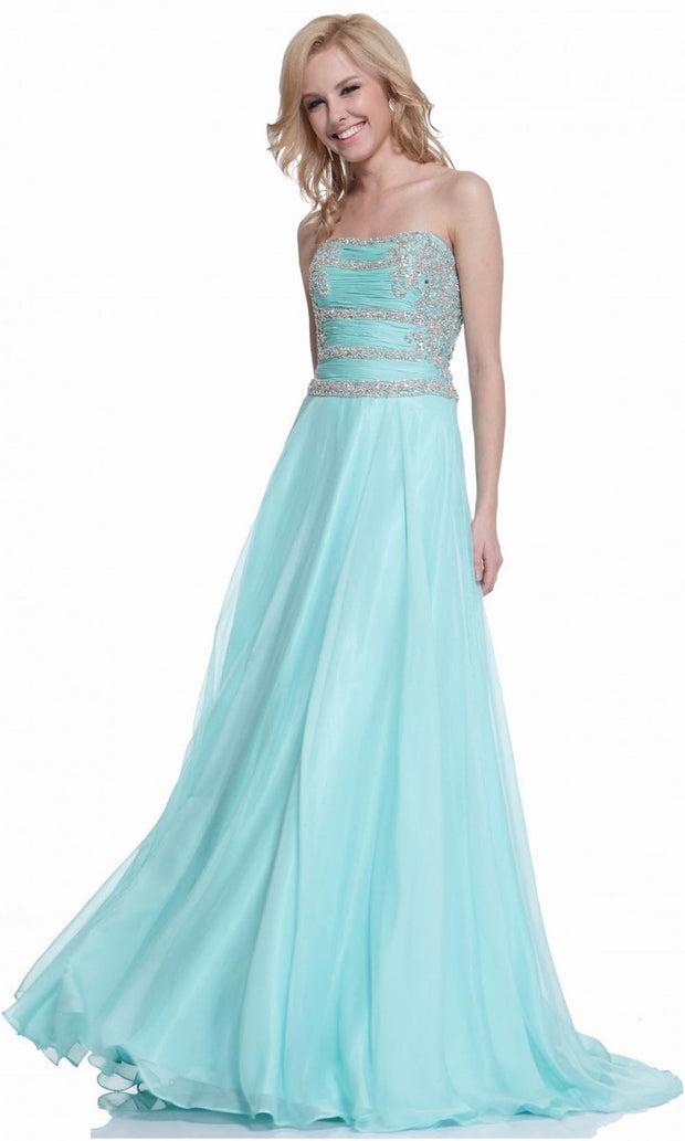 Cinderella Divine - C205 Beaded Strapless Chiffon Gown In Green