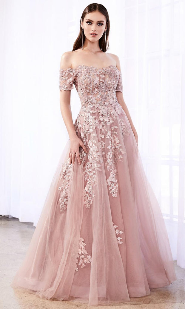 Cinderella Divine - C20 Off Shoulder Floral Lace Gown In Mauve