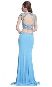 Cinderella Divine - C211 High Slit Beaded Sheath Dress In Blue