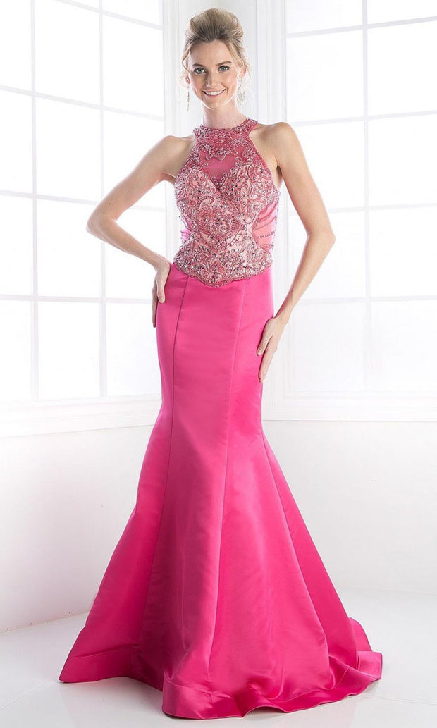 Cinderella Divine - C239 Embellished Satin Mermaid Gown In Pink