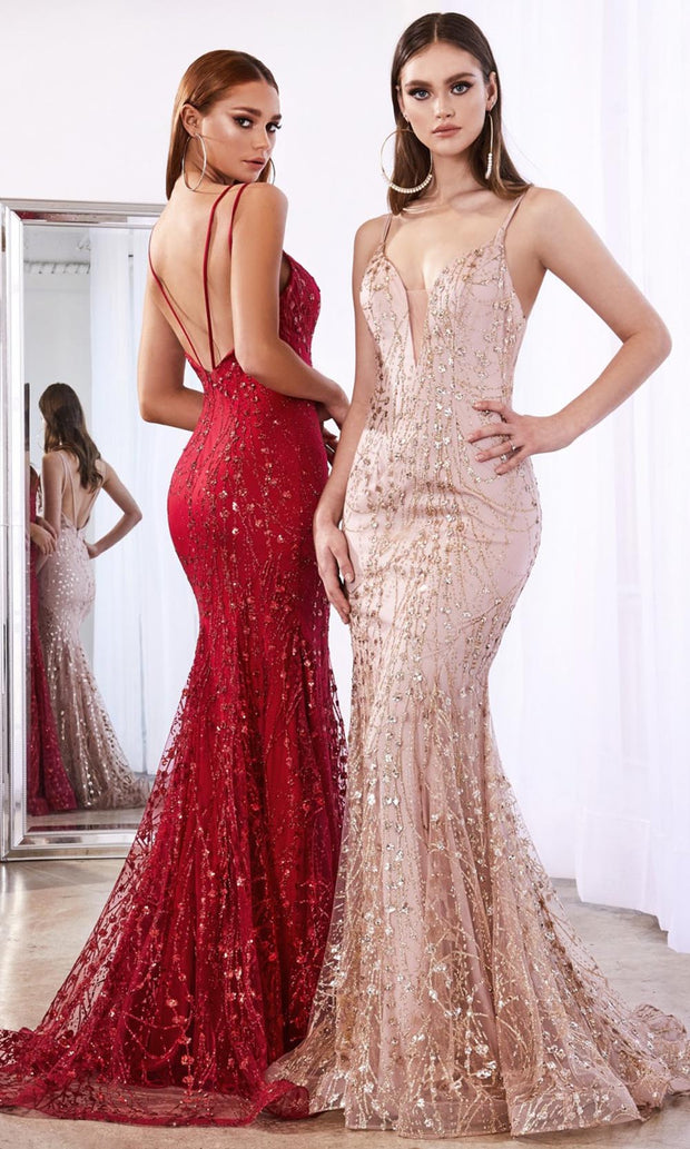 Cinderella Divine - C25 Plunge Neck Glitter Mermaid Gown In Champagne & Gold