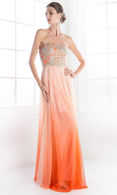 Cinderella Divine - C2633 Beaded Chiffon A-Line Dress In Orange