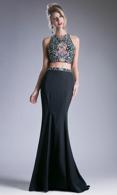 Cinderella Divine - C80312 Two Piece Embroidered Dress In Black