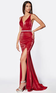Cinderella Divine - C81188 Deep V Neck Beaded Dress In Red