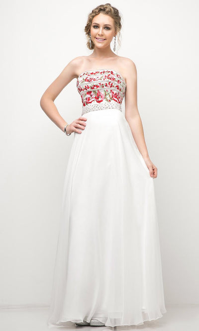 Cinderella Divine - CA311 Beaded Strapless A-Line Dress In White