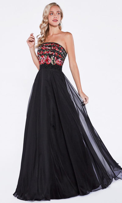 Cinderella Divine - CA311 Beaded Strapless A-Line Dress In Black
