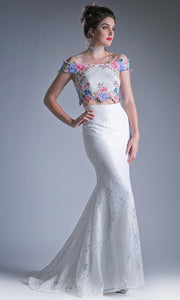 Cinderella Divine - CA314 Two Piece Embroidered Dress In White