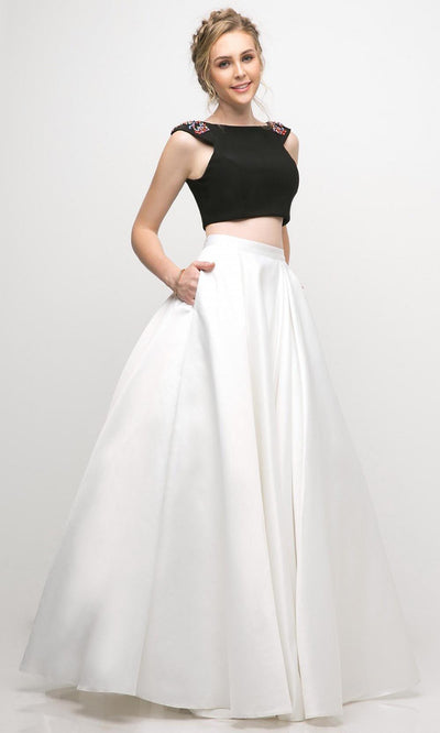 Cinderella Divine - CA316 Two Piece Mikado A-Line Dress In Black and White