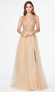 Cinderella Divine - CE0020 Embroidered Tulle A-Line Gown In Gold