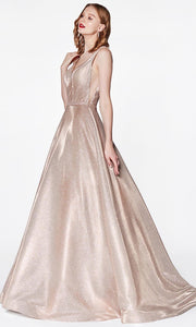 Cinderella Divine - CB0029 Deep V Neck A-Line Gown In Neutral