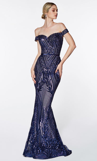 Cinderella Divine - CB0039 Sequined Off Shoulder Dress In Blue