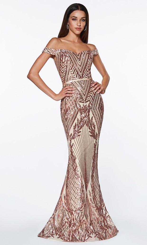 Cinderella Divine - CB0039 Sequined Off Shoulder Dress In Neutral and Gold