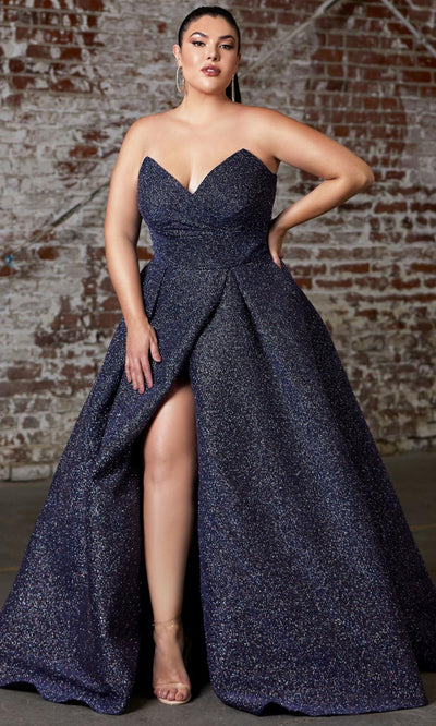 Cinderella Divine - CB045C Glittered Plus Size Dress In Black