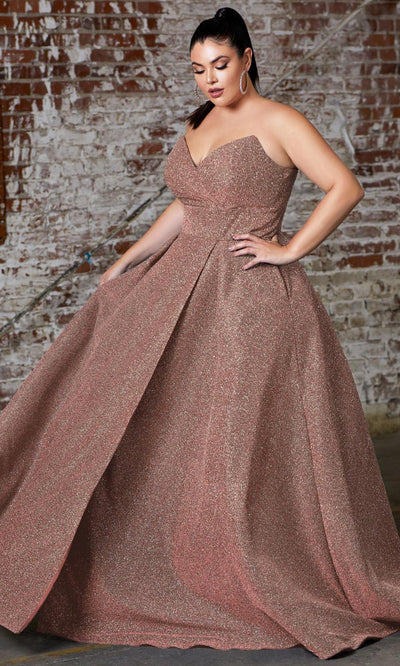 Cinderella Divine - CB045C Glittered Plus Size Dress In Gold