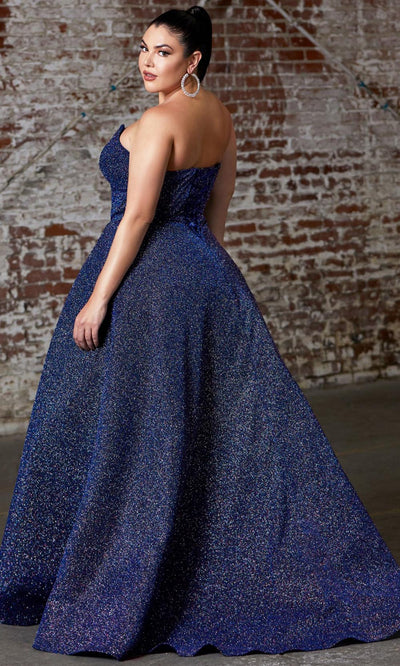 Cinderella Divine - CB045C Glittered Plus Size Dress In Blue