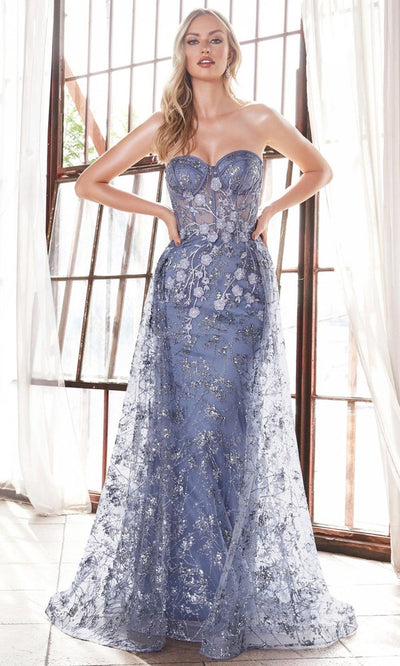 Cinderella Divine - CB046 Applique Dress With Overskirt In Blue