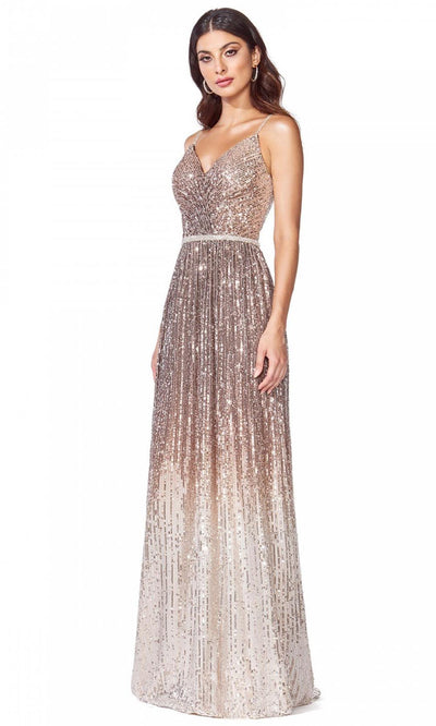 Cinderella Divine - CB057 Sequined V Neck Sheath Dress In Brown