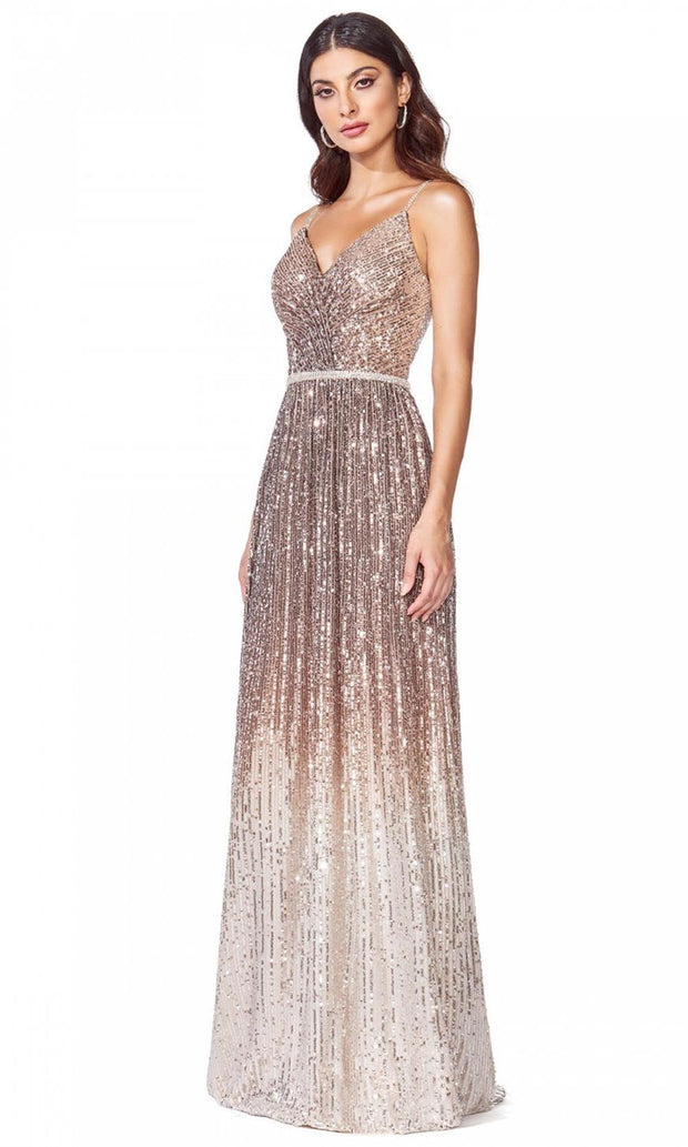 Cinderella Divine - CB057 Sequined V Neck Sheath Dress