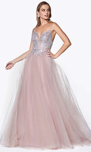 Cinderella Divine - CD0128 Adorned A-Line Tulle Gown In Purple
