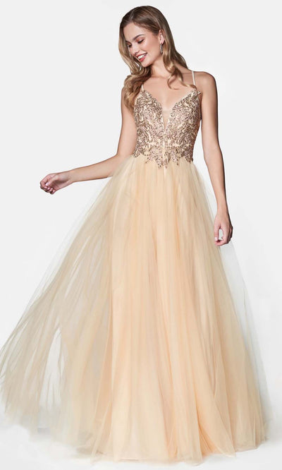 Cinderella Divine - CD0128 Adorned A-Line Tulle Gown In Neutral