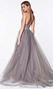 Cinderella Divine - CD0128 Adorned A-Line Tulle Gown In Gray