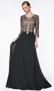 Cinderella Divine - CD0129 Three Fourth A-Line Gown In Black and Gold