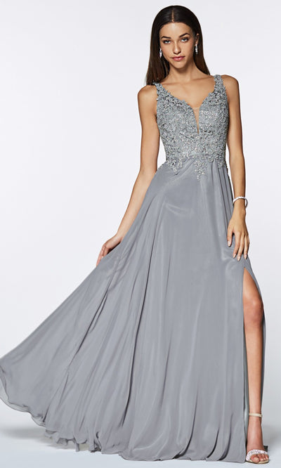 Cinderella Divine - CD0133 Adorned Chiffon Long Gown In Silver