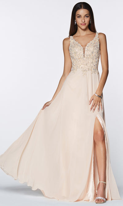 Cinderella Divine - CD0133 Adorned Chiffon Long Gown In Neutral
