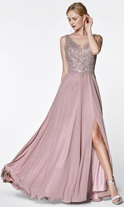 Cinderella Divine - CD0133 Adorned Chiffon Long Gown In Purple and Gray