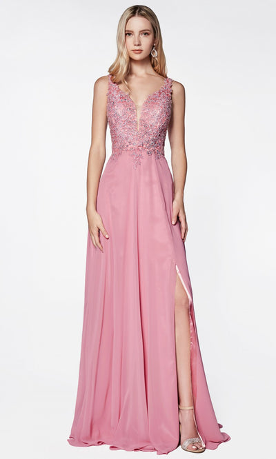 Cinderella Divine - CD0133 Adorned Chiffon Long Gown In Pink