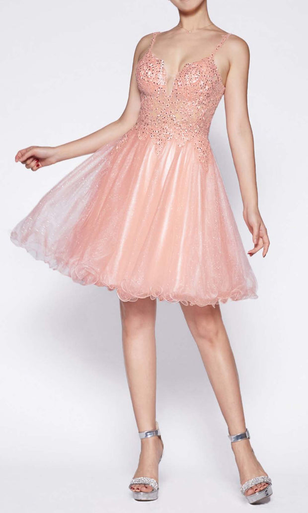 Cinderella Divine - CD0137 Beaded Cocktail Dress In Pink