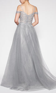 Cinderella Divine - CD0138 Beaded Cold Shoulder Dress In Silver