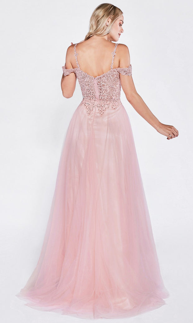 Cinderella Divine - CD0138 Beaded Cold Shoulder Dress In Pink