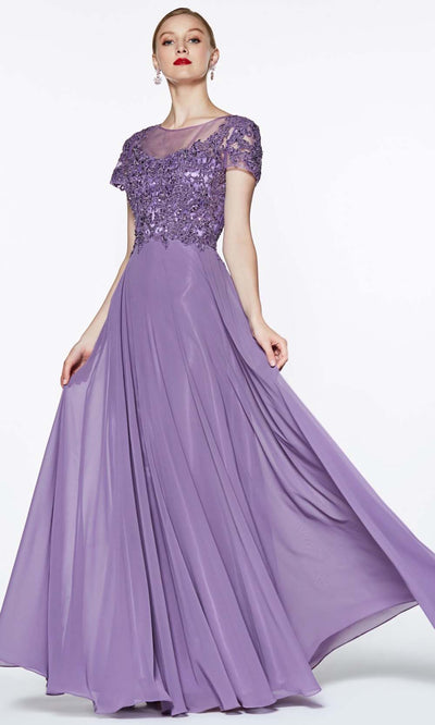 Cinderella Divine - CD0139 Illusion Jewel Chiffon Dress In Purple
