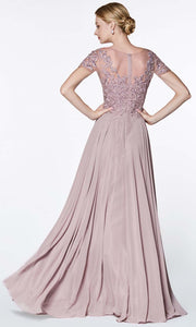 Cinderella Divine - CD0139 Illusion Jewel Chiffon Dress In Gray and Purple