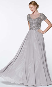 Cinderella Divine - CD0139 Illusion Jewel Chiffon Dress In Gray