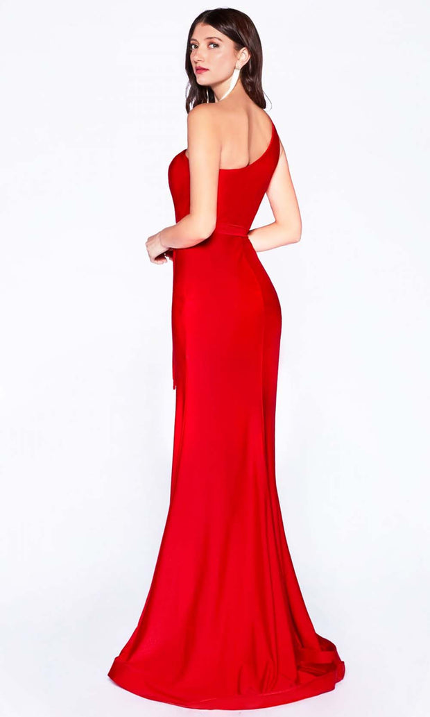 Cinderella Divine - CD0143 Asymmetric Fitted Dress In Red