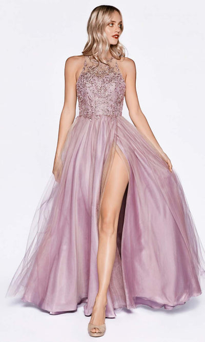 Cinderella Divine - CD0145 Halter Jewel Tulle Dress In Purple