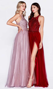 Cinderella Divine - CD0145 Halter Jewel Tulle Dress In Purple and Red