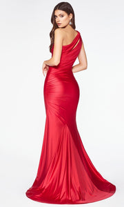 Cinderella Divine - CD0146 Asymmetric Ruched Gown In Red
