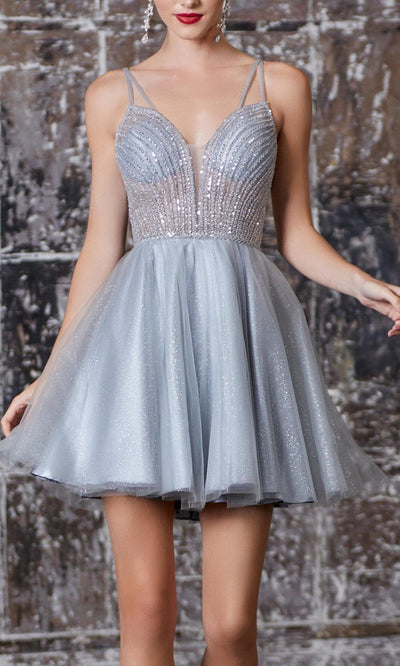 Cinderella Divine - CD0148 Adorned Cocktail Dress In Gray