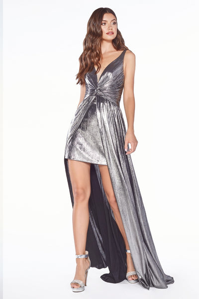 Cinderella Divine - CD0151 V Neck Metallic Dress In Silver