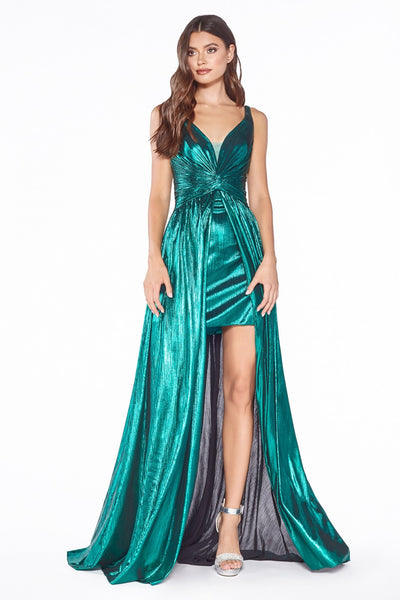 Cinderella Divine - CD0151 V Neck Metallic Dress In Green